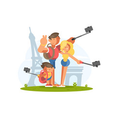 Family doing selfie on vacation vector