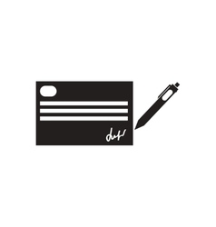 Flat icon in black and white writing a check vector