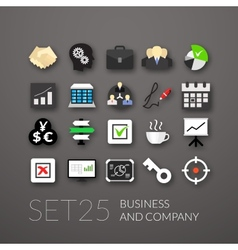 Flat icons set 25 vector image