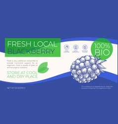 Fresh local fruits and berries label template vector