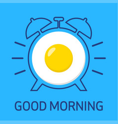 fried egg and alarm clock vector image