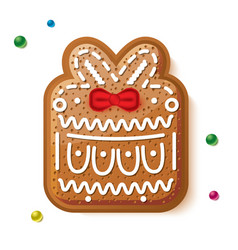 gingerbread gift box isolated on white christmas vector image