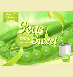 Green peas 3d realistic package design vector