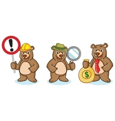 Grizzly Bear Mascot with money vector
