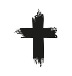 handdrawn christian cross symbol hand painted vector image