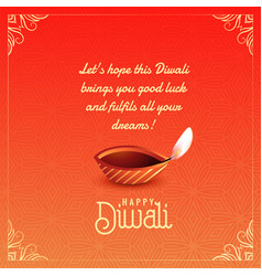 Happy diwali greeting card wishes background vector