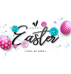 happy easter with red painted egg and vector image
