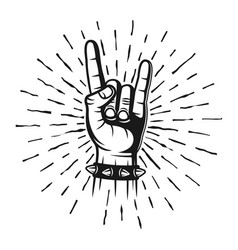 Heavy metal horns hand gesture stamp with rays vector