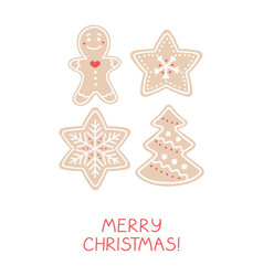 holiday greeting card with gingerbread cookies vector image