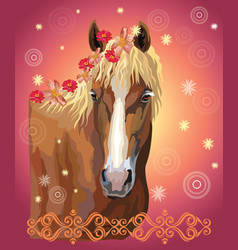 Horse portrait with flowers17 vector