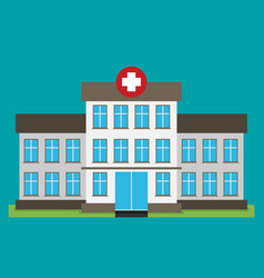 Hospital building flat icon vector