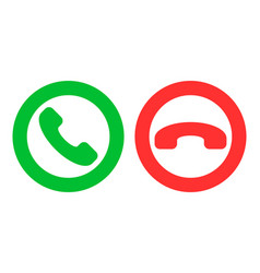 Icon or button green and red handset as phone call vector