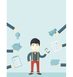 Japanese man with smartphone in hand vector image