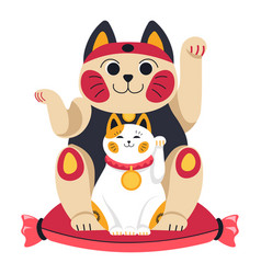 Japanese or chinese cats symbol animal statuette vector