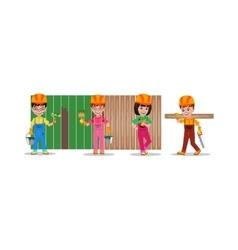 Kids builders characters vector image