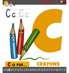 Letter c from alphabet with cartoon crayons vector