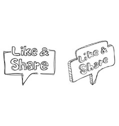 Like and share icons in doodles style vector