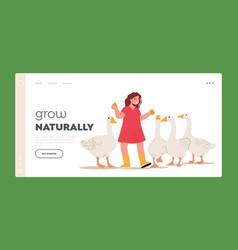 Little girl feeding fowl landing page template vector