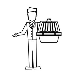 man holding pet carrying box transport image vector image
