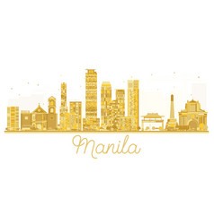 Manila philippines city skyline golden silhouette vector