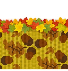 Maple Leaves with Autumn Knitted Pattern 3 vector image