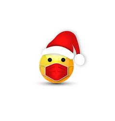 mask character santa claus red hat emoji icon vector image