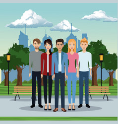 Men and women street park background vector