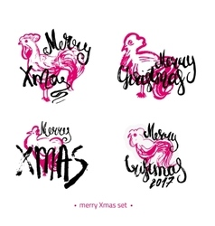 Modern hand drawn Merry Christmas 2017 lettering vector image