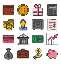 money icon set on white background vector image