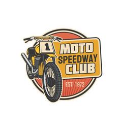 moto speedway club icon motor sport motorcycle vector image