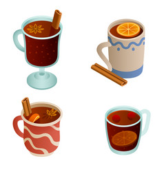 Mulled wine icons set isometric style vector