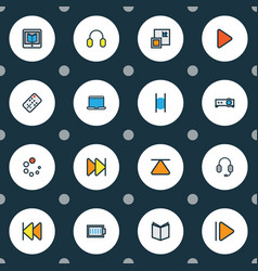 multimedia icons colored line set with next vector image