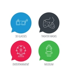 Museum ferris wheel and theater masks icons vector
