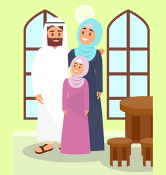 Muslim family posing in traditional house in vector