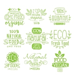 Organic Food Calligraphic Label Set vector