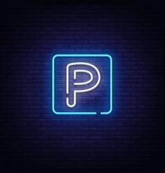 parking neon sign parking zone design vector image
