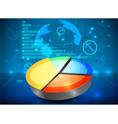 Pie chart on the rise business graph background vector