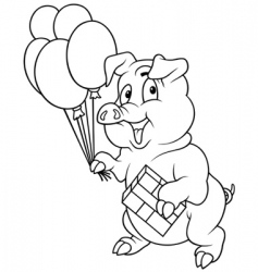 piglet and balloons vector image