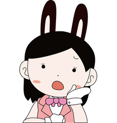 Pop cosplayer girl in a sailor suit with rabbit vector