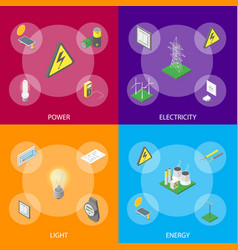 power banner set isometric view vector image