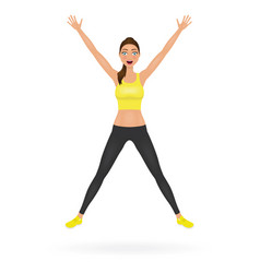 Pretty jumping girl in leggings and crop top vector