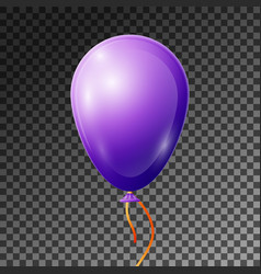realistic purple or violet balloon with ribbon vector image