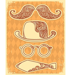Retro party objects with moustaches vintage on old vector image vector image