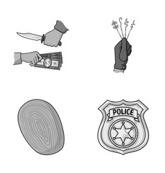 Robbery attack fingerprint police officer s vector
