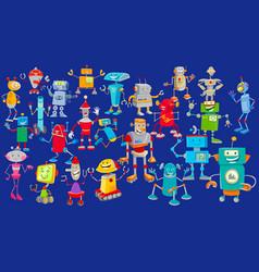robots cartoon characters huge group vector image