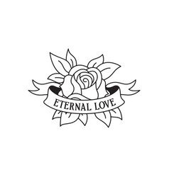 rose tattoo template with wording eternal love vector image