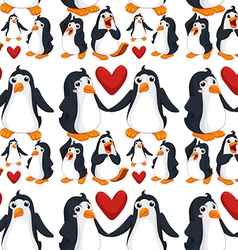 Seamless background with penguins in love vector