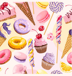 Seamless pattern with pink and lilac sweets vector