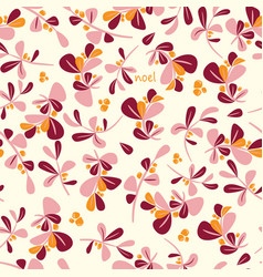 Seamless winter floral pattern flat christmas vector