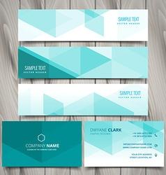 set blue polygonal business stationery vector image